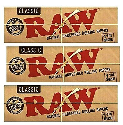 3 Packs RAW Classic 1 1/4 Unrefined Hemp Rolling Papers 50 Lvs *USA SHIPPED*