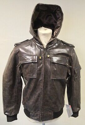 Mens Hooded Real Leather Jacket - Genuine Leather, Vintage Style, Retro, Brown
