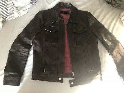 ee9812a9d VINTAGE GUCCI LEATHER Jacket Mens Bomber Gg Faded Hype cafe racer ...