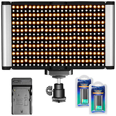 Neewer 280 LEDs Bi-color Dimmable Camera LED Video Light Panel with Batteries