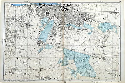 LONDON, WOOLWICH, CHARLTON, PLUMSTEAD,WELLING ORIGINAL ANTIQUE MAP - Bacon, 1895