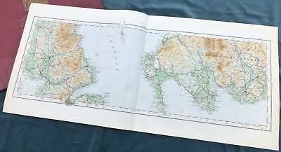 SCOTLAND -  Vintage Cloth OS MAP, 1924 -  WIGTOWNSHIRE & ANTRIM ( N.IRL.)
