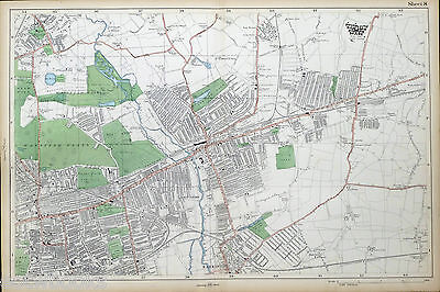 Old vintage  Map London 1908 #8 Wanstead Park Ilford