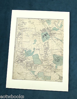 LONDON, 1895 - Mounted Antique Map, MUSWELL HILL, COLNEY HATCH, EAST END, Bacon.