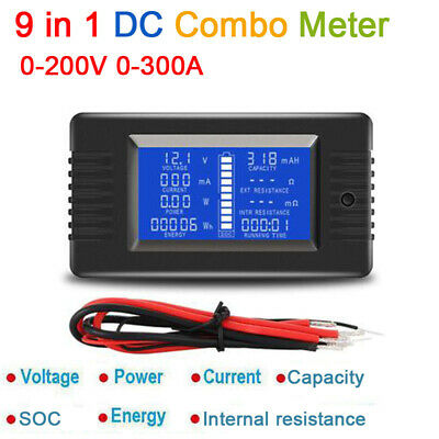 9in1 DC Combo Meter 200V 0-300A Battery Monitor Voltage Current Power Capacity