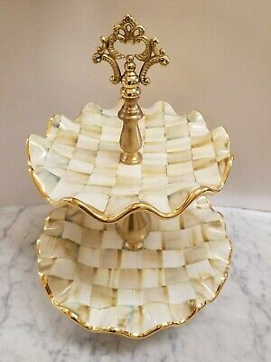 Mackenzie Childs Parchment Check Ceramic Fluted Two Tier Sweet Stand $475