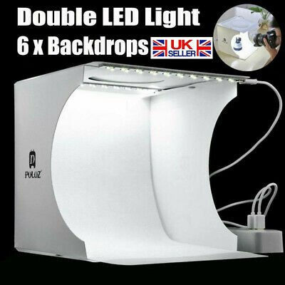 Portable Mini LED Studio Photo Box Light Photography Backdrop Room Cube Tent