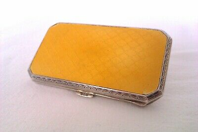 Beautiful Solid Silver Enamel Guilloche Egyptian Ladies Cigarette Case c1926