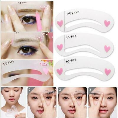 6 Eyebrow Stencils Grooming Shaper Kit Brow Template Makeup Reusable Tools