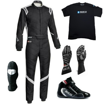 Sparco Go Kart Race Suit CIK FIA Level 2 Approved Shoes with Gloves & T-Shirt