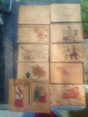 Lot of 11 Antique Leather Postcards - 1906-1909 - Mostly Humorous