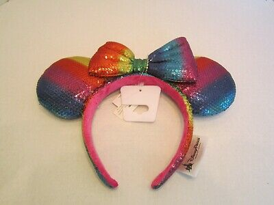 Disney Parks Mickey Minnie Sequin Ears Rainbow Gay Pride Headband New With Tags