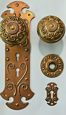 Salvaged Restored Antique 1890's Sargent Victorian Brass Door Knob Set;Gorgeous!