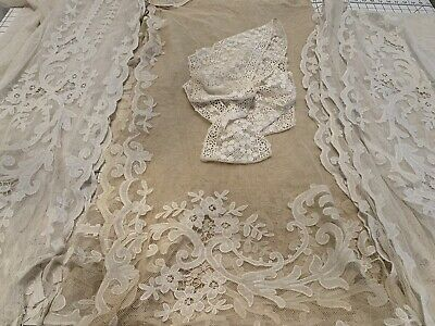REVISED Lot Antique Vintage Lace Netting Embroidered Fabrics 3 Large 1 trim