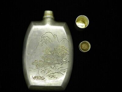 Vintage Japanese 950 Sterling Flask Engraved Boat River Birds Mountain 172.8G