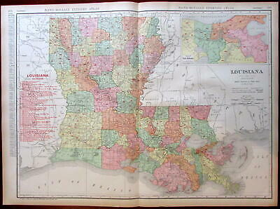 Louisiana state by itself 1908 huge detailed Rand McNally map