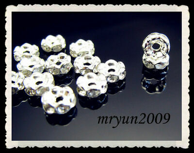 Jewelry 8mm Beads 100PCS Rondelle Clear Wavy Spacer FREE Crystal Silver Making