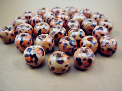 Free leopard print TOP Round 8mm Pearls Loose Charms Spacer Wood 50pcs beads