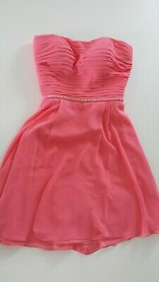 Bill Levkoff Coral Embellished Short Dress Womens 6 Formal Party Event Wedding