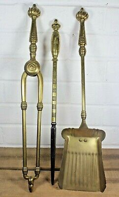 Large Antique Victorian Solid Brass Fireside Companion Tool Set Poker Etc c1880s