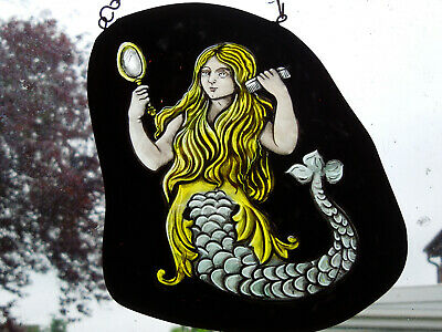 Interesting Mermaid Siren Stained Glass Fragment Medieval Victorian