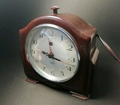 Vintage Smiths Sectric Alarm Clock Bakelite Casing Small Mantle Bedside Clock