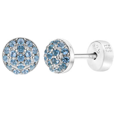 3819bd5d2 925 Sterling Silver CZ Pave Half Ball Safety Stud Earrings for Babies Kids  Girls