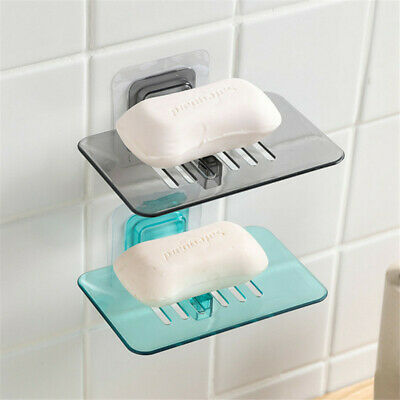 Wall Mount Soap Box Dish Holder Suction cup Soap Draining Rack Bathroom Supply