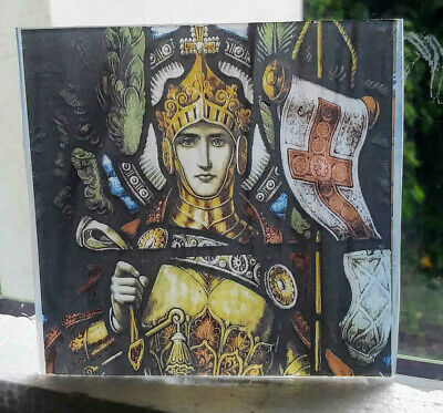 "Stained Glass - ""Knight St. George"" Kiln fired.transfer piece semi translucent"