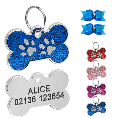 Bone Personalized Dog Tags Cat Puppy Pet ID Name Tags Free Gift Hair Bows Pink