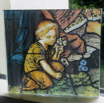 "Stained Glass - ""Child & flowers"" Kiln fired.transfer piece semi translucent"