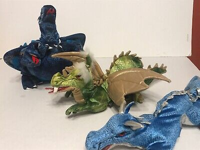 96438addae95 LOT OF 3 FOLKMANIS Hand Puppets, Large Red Dragon, Wizard, Medieval ...