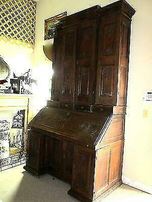 """Tall 84"""" Grand Antique French Oak Renaissance Bookcase/Cabinet Drop Leaf Table"""