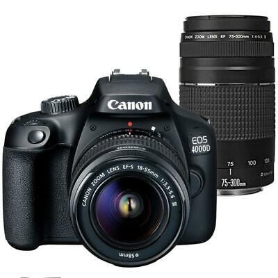 Canon EOS 4000D Rebel T100 18MP DSLR Camera + EF-S 18-55mm and EF 75-300 Lenses