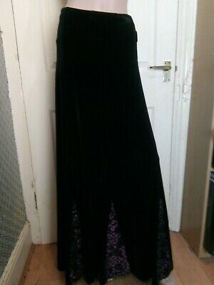 Omen Velvet flared skirt with brocade Small goth emo steampunk medieval