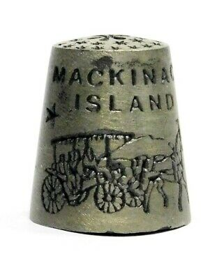 Etched Mackinac Island Michigan Pewter Thimble