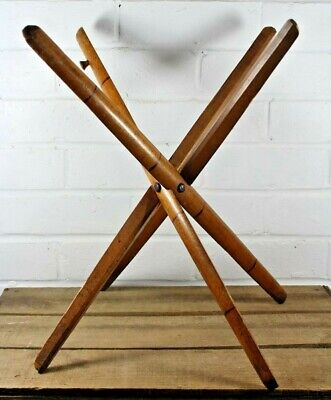 Rare Antique Wooden Campaign Camp Folding Stool Chair Base 4 Leg, Bamboo Effect