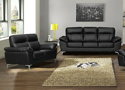 2PC button Loft Leather Sofa  /& Chair set #1255 in black//white