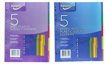 A4 5 Part Plastic Subject Dividers /  Extra Wide Subject Dividers Easy Filling
