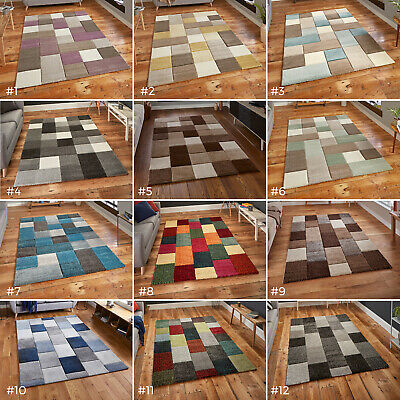 Large Thick Blocks Cubes Squares Heatset Hand Carved Colourful Modern Rugs