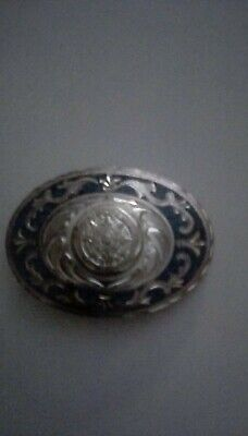 Mexican Alpaca Silver Mayan Calendar belt buckle with blue turquoise chip inlay