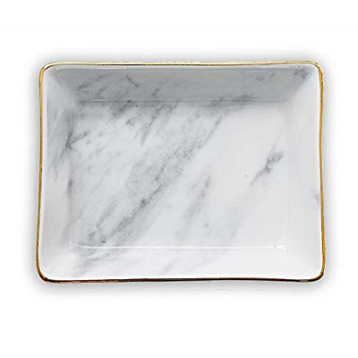 Marble Ceramic Jewelry Tray Ring Dish Ring Holder Display Organizer with Golden