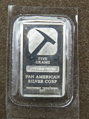 5 Grams Silver Bar Pan American Silver Corp Northwest Territorial Mint .999 Fine