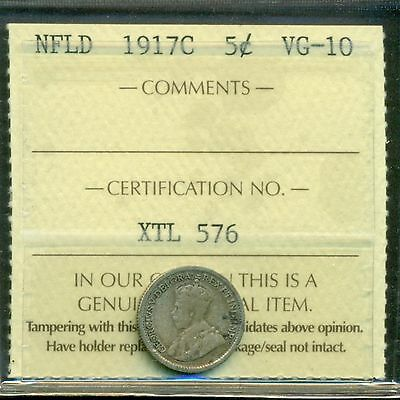 Canada Newfoundland NFLD 1917C 5 Cents Silver Graded ICCS VG-10