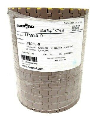 New Rexnord Lf5935-9 Mattop Chain Lf59359 10Ft