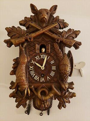 Antique 1937 LUX Animated Bird HUNTING SCENE Cuckoo Style Pendulette Wall Clock