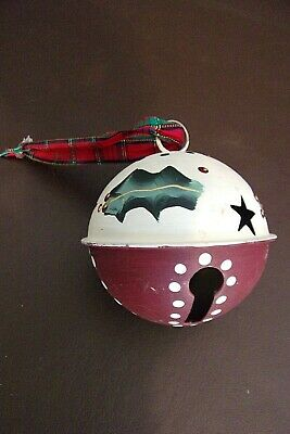 Vintage Metal Bell Hand Painted Christmas Ornament (12T085)