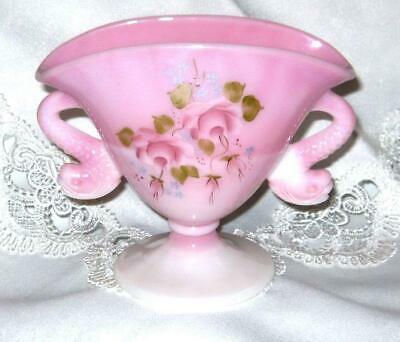 Fenton Rosalene Dolphin Handled Vase Signed W.C.( Bill) Pink Glass HP Roses