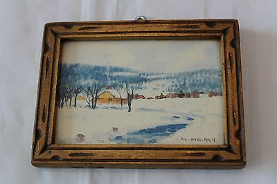 W.M. Mitchell Watercolor Art Painting Hand Carved Frame Laurentian Mountains QC
