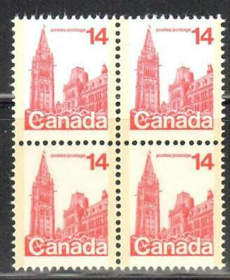 Canada 715iii VF Mint NH block of 4 , 'Missing spire' variety, position 34